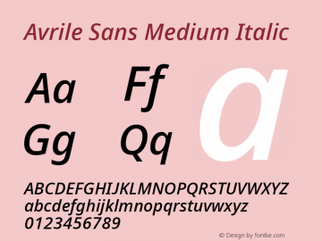 Avrile Sans Medium Italic Version 2.001;September 10, 2019;FontCreator 11.5.0.2425 64-bit图片样张
