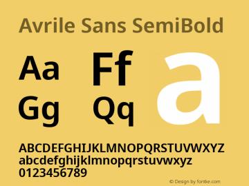 Avrile Sans SemiBold Version 2.001;September 10, 2019;FontCreator 11.5.0.2425 64-bit图片样张