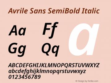 Avrile Sans SemiBold Italic Version 2.001;September 10, 2019;FontCreator 11.5.0.2425 64-bit图片样张