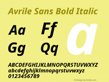 Avrile Sans Bold Italic Version 2.001;September 10, 2019;FontCreator 11.5.0.2425 64-bit图片样张