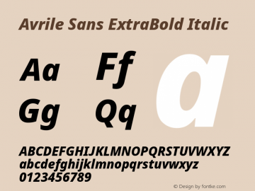 Avrile Sans ExtraBold Italic Version 2.001;September 10, 2019;FontCreator 11.5.0.2425 64-bit图片样张