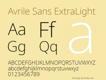Avrile Sans ExtraLight Version 2.001;September 10, 2019;FontCreator 11.5.0.2425 64-bit图片样张