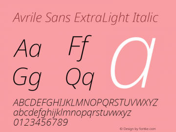 Avrile Sans ExtraLight Italic Version 2.001;September 10, 2019;FontCreator 11.5.0.2425 64-bit图片样张