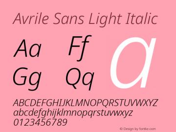 Avrile Sans Light Italic Version 2.001;September 10, 2019;FontCreator 11.5.0.2425 64-bit图片样张