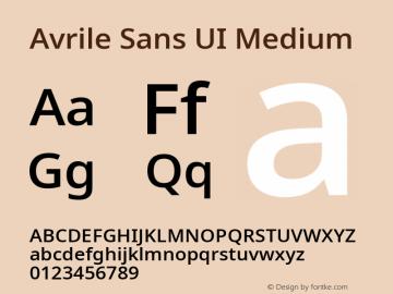 Avrile Sans UI Medium Version 1.001;September 22, 2019;FontCreator 11.5.0.2425 64-bit; ttfautohint (v1.6)图片样张
