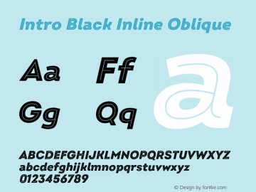 Intro Black Inline Oblique Version 2.000;hotconv 1.0.109;makeotfexe 2.5.65596图片样张