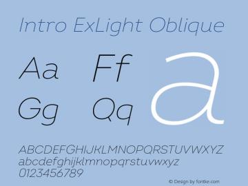 Intro ExLight Oblique Version 2.000;hotconv 1.0.109;makeotfexe 2.5.65596图片样张