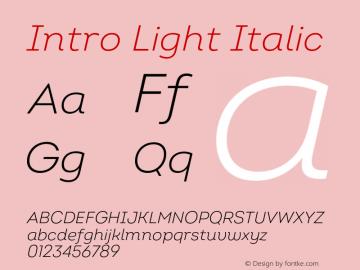 Intro Light Italic Version 2.000;hotconv 1.0.109;makeotfexe 2.5.65596图片样张
