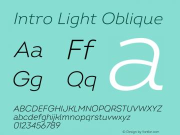 Intro Light Oblique Version 2.000;hotconv 1.0.109;makeotfexe 2.5.65596图片样张