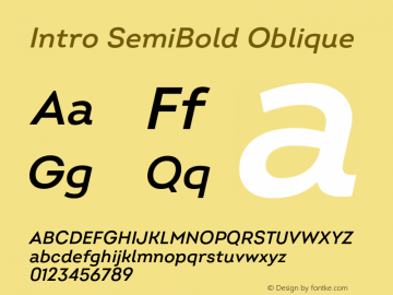 Intro SemiBold Oblique Version 2.000;hotconv 1.0.109;makeotfexe 2.5.65596图片样张