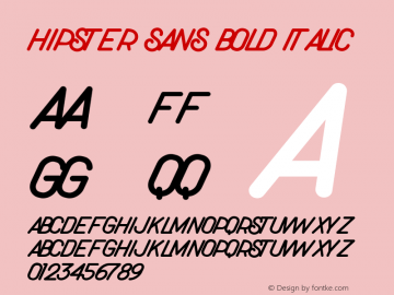 Hipster Sans Bold Italic Version 1.002;Fontself Maker 3.3.0图片样张