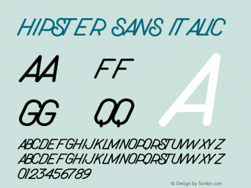 Hipster Sans Italic Version 1.006;Fontself Maker 3.3.0图片样张