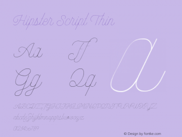 Hipster Script Thin Version 1.002;Fontself Maker 3.3.0图片样张