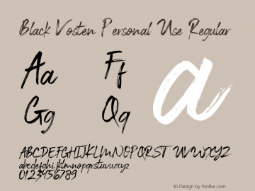 Black Vosten Personal Use Version 1.00;August 21, 2019;FontCreator 11.5.0.2427 32-bit图片样张