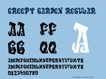 Creepy Garden Version 1.00;October 6, 2019;FontCreator 11.5.0.2427 32-bit图片样张
