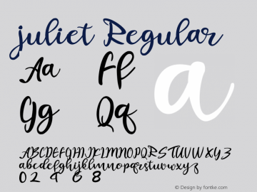 juliet Version 1.00;October 7, 2019;FontCreator 11.5.0.2422 64-bit图片样张