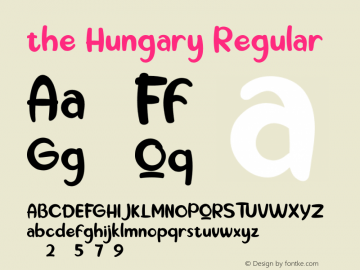 the Hungary Version 1.00;October 7, 2019;FontCreator 11.5.0.2422 64-bit图片样张