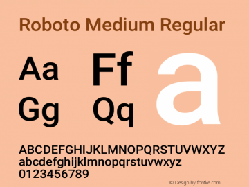 Roboto Medium Version 2.001152; 2014图片样张