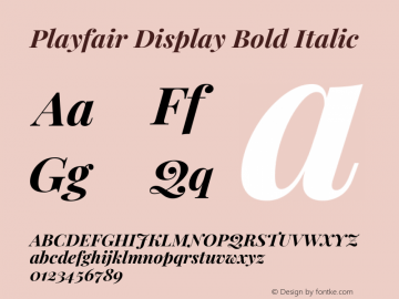 Playfair Display Bold Italic Version 1.200; ttfautohint (v1.6)图片样张