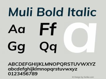 Muli Bold Italic Version 2.000 Font Sample
