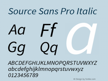 Source Sans Pro Italic Version 1.050;PS Version 1.000;hotconv 1.0.70;makeotf.lib2.5.5900图片样张