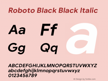 Roboto Black Italic Version 1.008 | CWR FONToMASS Premium compilation图片样张