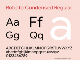 Roboto Condensed Regular Version 1.008 | CWR FONToMASS Premium compilation图片样张