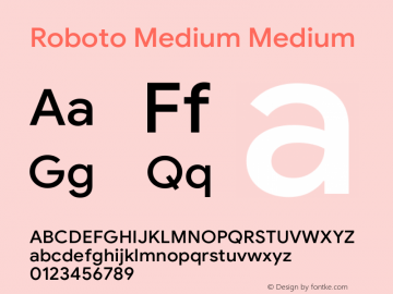 Roboto Medium Version 1.008 | CWR FONToMASS Premium compilation图片样张
