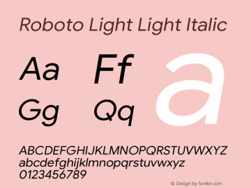 Roboto Light Italic Version 1.008 | CWR FONToMASS Premium compilation图片样张