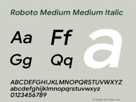 Roboto Medium Italic Version 1.008   CWR FONToMASS Premium compilation图片样张