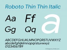 Roboto Thin Italic Version 1.008 | CWR FONToMASS Premium compilation图片样张