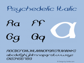 Psychedelic Italic Version 1.00;May 13, 2019;FontCreator 11.5.0.2430 64-bit图片样张