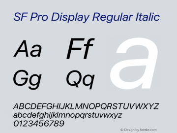 SF Pro Display Regular Italic Version 15.0d5e5图片样张