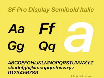 SF Pro Display Semibold Italic Version 15.0d5e5图片样张