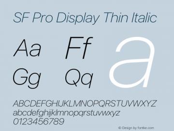 SF Pro Display Thin Italic Version 15.0d5e5图片样张