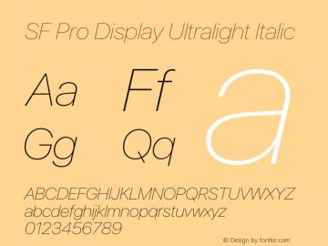 SF Pro Display Ultralight Italic Version 15.0d5e5图片样张