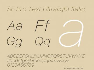 SF Pro Text Ultralight Italic Version 15.0d5e5图片样张