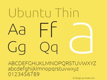 Ubuntu Thin Version 0.84 Font Sample