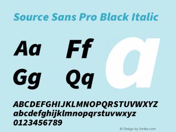 Source Sans Pro Black Italic Version 3.006;hotconv 1.0.111;makeotfexe 2.5.65597图片样张