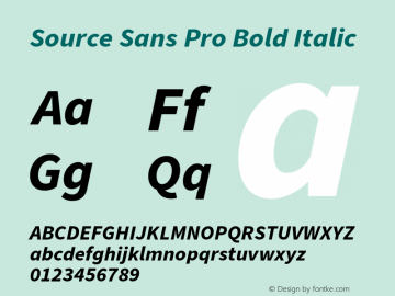 Source Sans Pro Bold Italic Version 3.006;hotconv 1.0.111;makeotfexe 2.5.65597图片样张