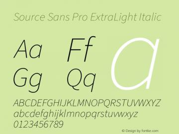 Source Sans Pro ExtraLight Italic Version 3.006;hotconv 1.0.111;makeotfexe 2.5.65597图片样张