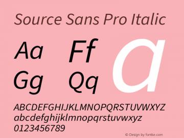 Source Sans Pro Italic Version 3.006;hotconv 1.0.111;makeotfexe 2.5.65597图片样张