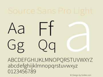 Source Sans Pro Light Version 3.006;hotconv 1.0.111;makeotfexe 2.5.65597图片样张