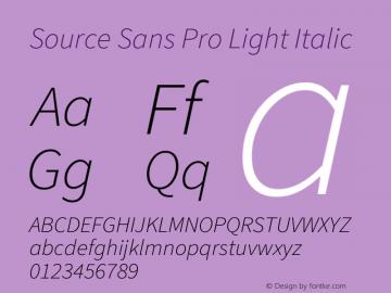Source Sans Pro Light Italic Version 3.006;hotconv 1.0.111;makeotfexe 2.5.65597图片样张