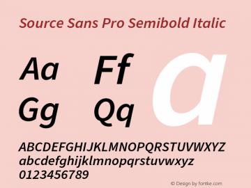 Source Sans Pro Semibold Italic Version 3.006;hotconv 1.0.111;makeotfexe 2.5.65597图片样张