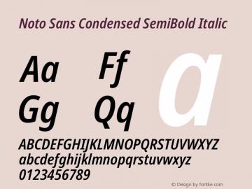 Noto Sans Condensed SemiBold Italic Version 2.001图片样张