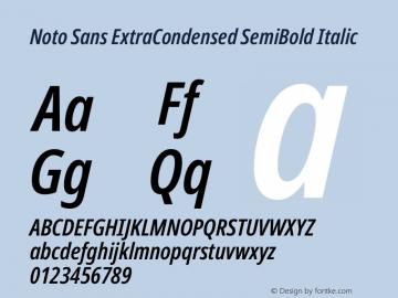 Noto Sans ExtraCondensed SemiBold Italic Version 2.001图片样张