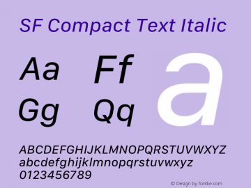 SF Compact Text Italic Version 15.0d7e11图片样张