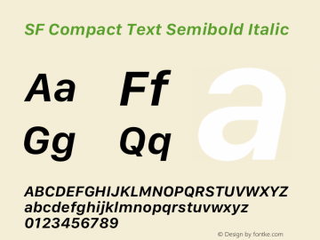 SF Compact Text Semibold Italic Version 15.0d7e11图片样张