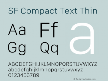SF Compact Text Thin Version 15.0d7e11图片样张